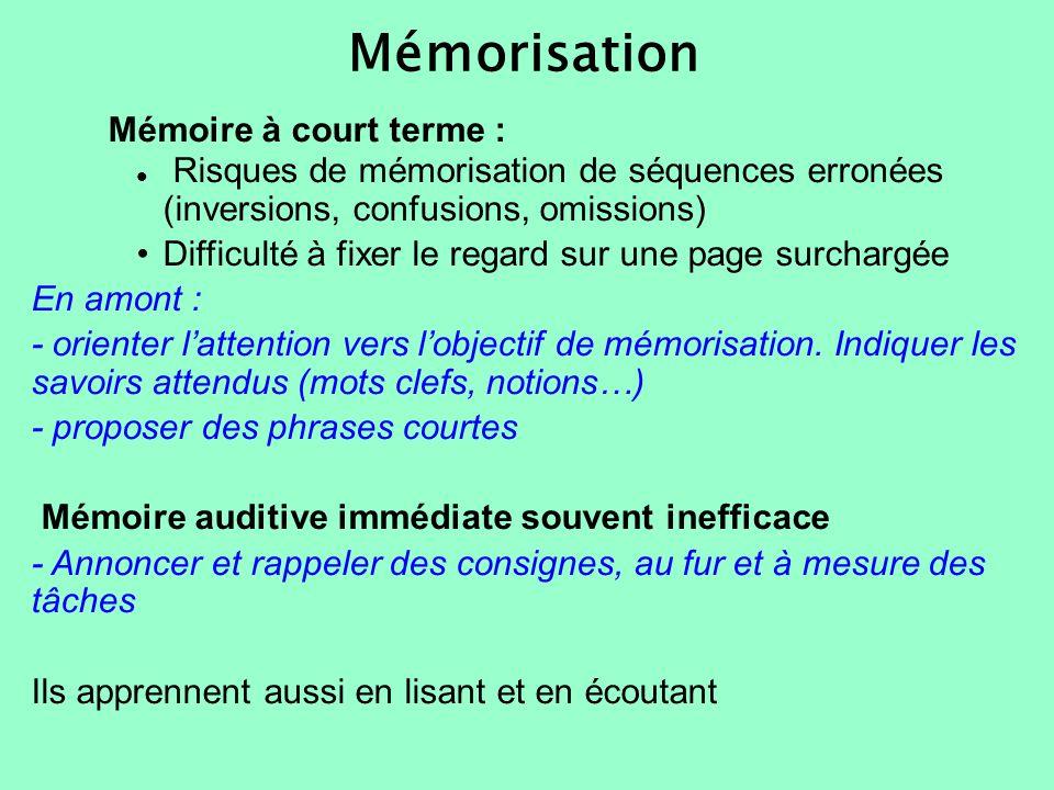 Mémorisation Mémoire à court terme :
