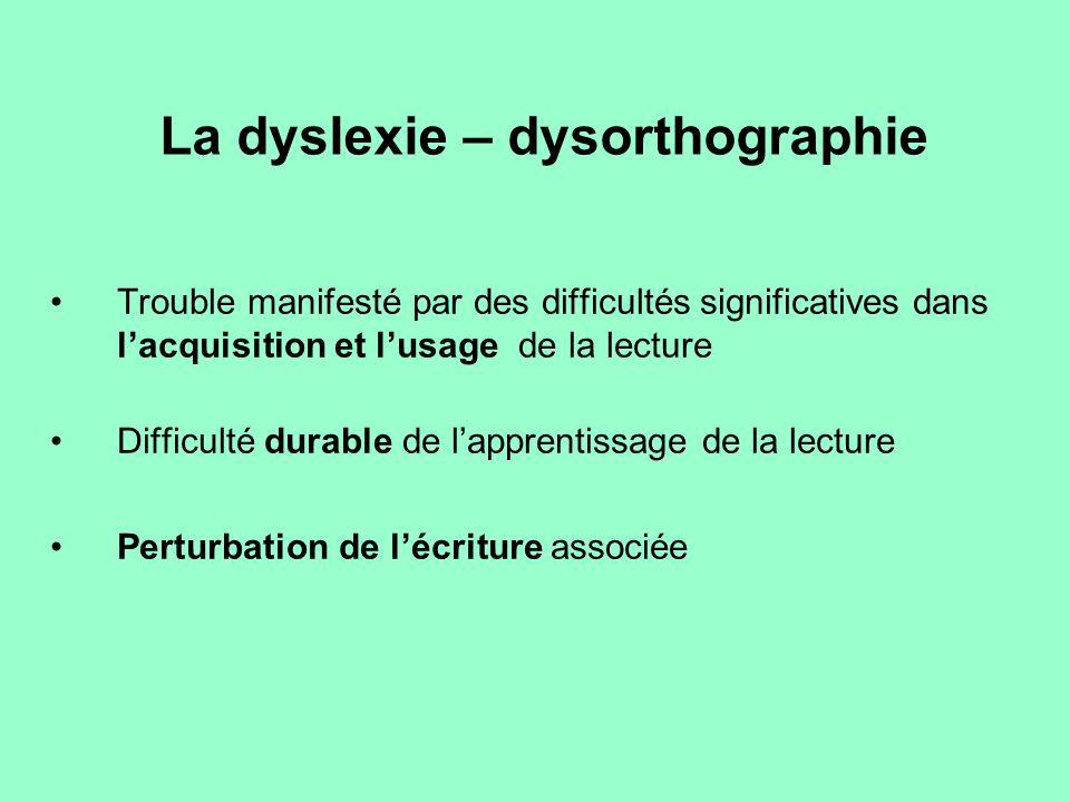 La dyslexie – dysorthographie