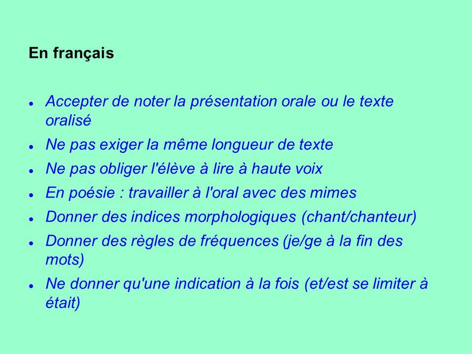 En français Accepter de noter la présentation orale ou le texte oralisé. Ne pas exiger la même longueur de texte.