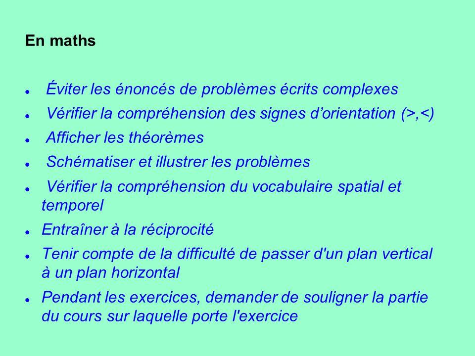 En maths Éviter les énoncés de problèmes écrits complexes. Vérifier la compréhension des signes d'orientation (>,<)