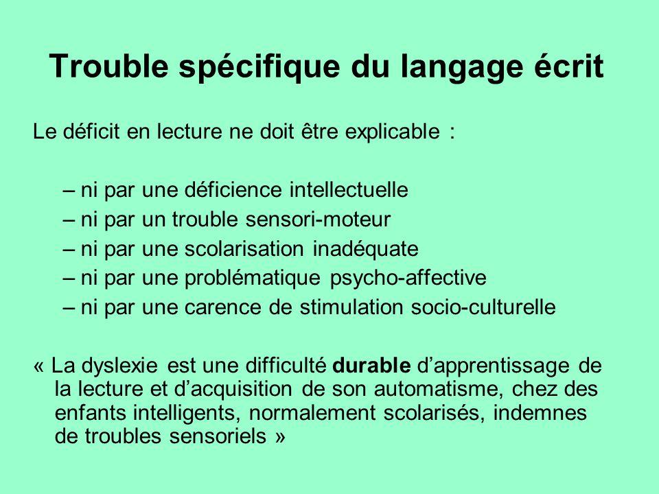 Trouble spécifique du langage écrit