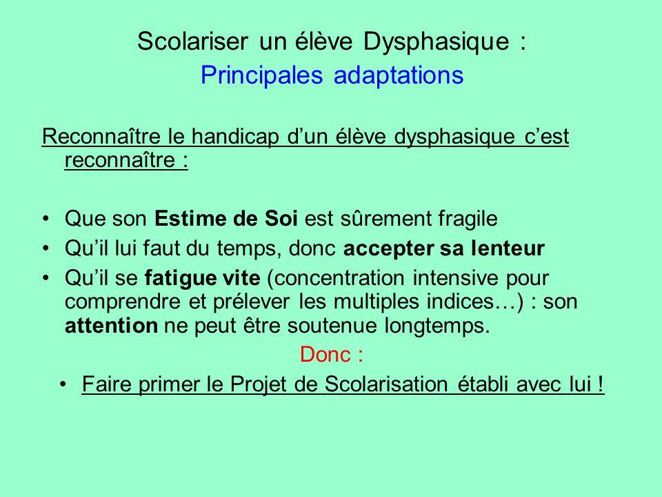 Scolariser un élève Dysphasique : Principales adaptations
