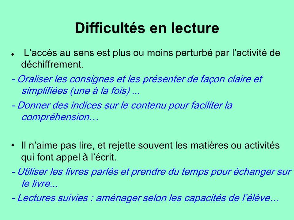 Difficultés en lecture