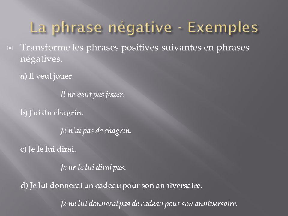 La phrase négative - Exemples
