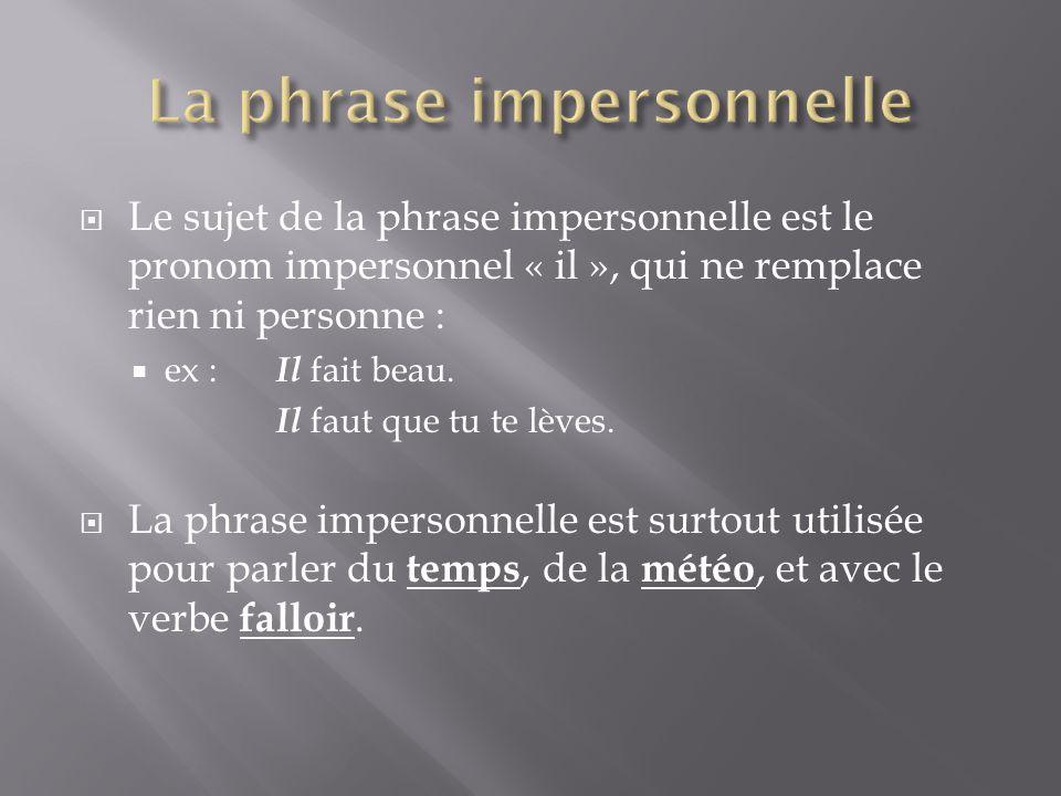 La phrase impersonnelle