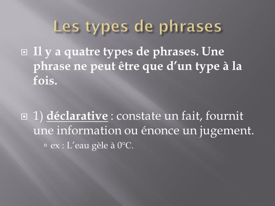 Les types de phrases Il y a quatre types de phrases. Une phrase ne peut être que d'un type à la fois.