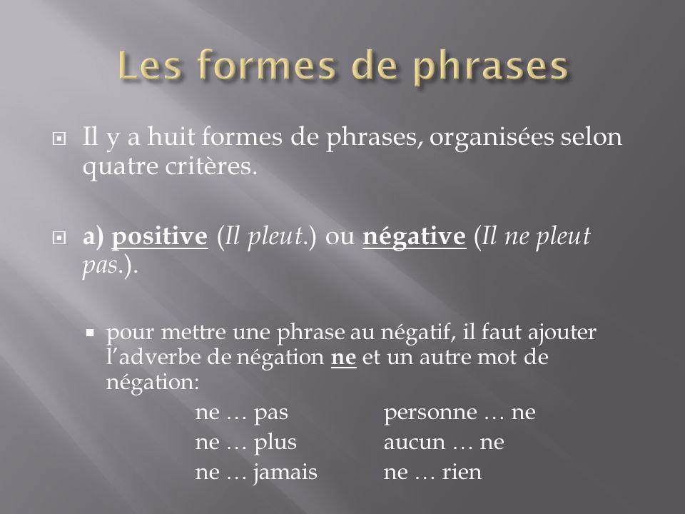 Les formes de phrases Il y a huit formes de phrases, organisées selon quatre critères. a) positive (Il pleut.) ou négative (Il ne pleut pas.).