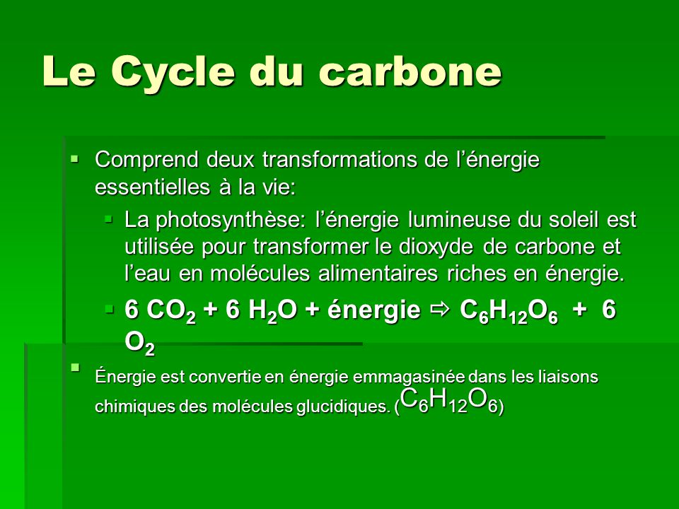 Le Cycle du carbone 6 CO2 + 6 H2O + énergie  C6H12O6 + 6 O2
