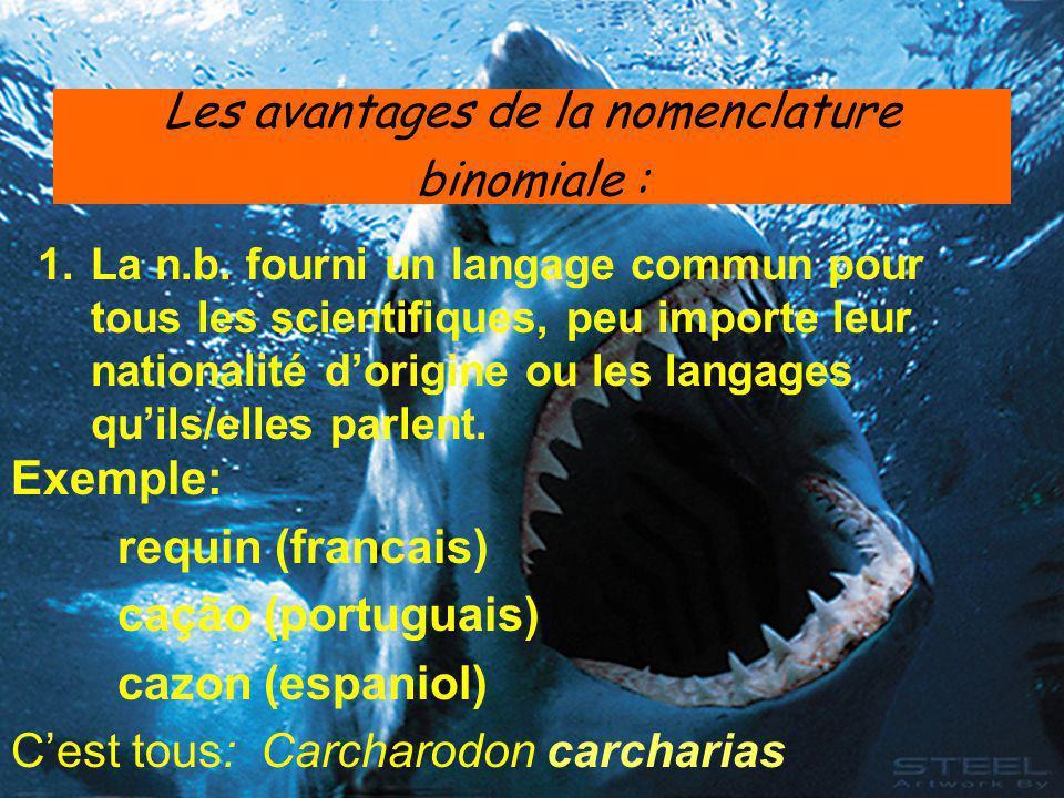 Les avantages de la nomenclature binomiale :