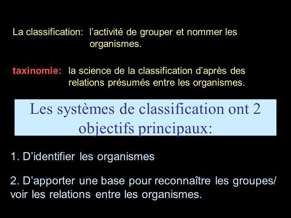 Les systèmes de classification ont 2 objectifs principaux: