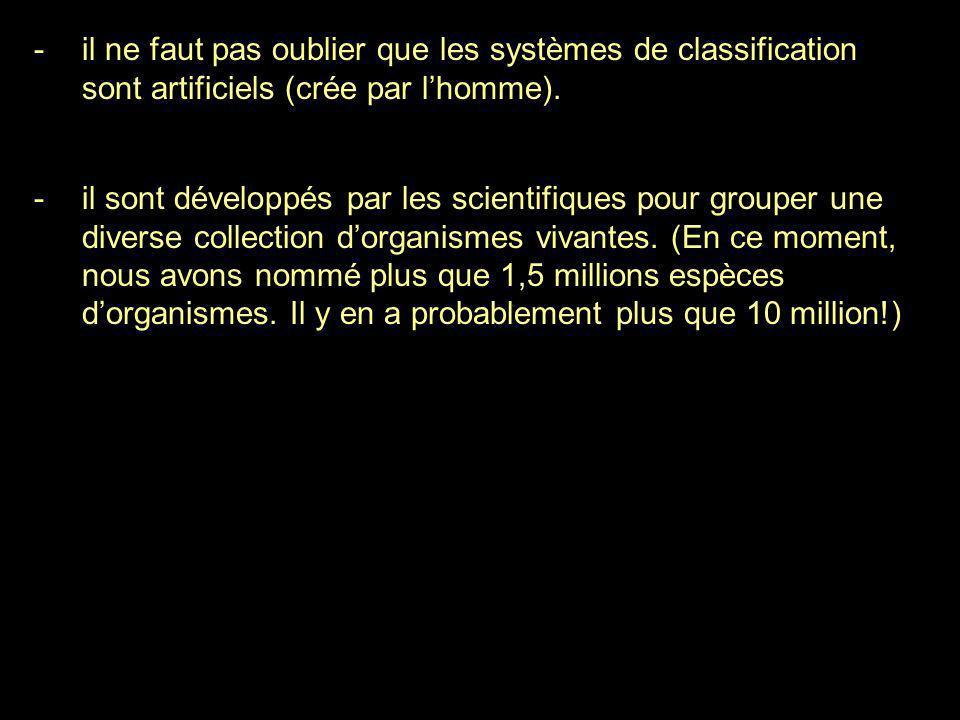 il ne faut pas oublier que les systèmes de classification sont artificiels (crée par l'homme).