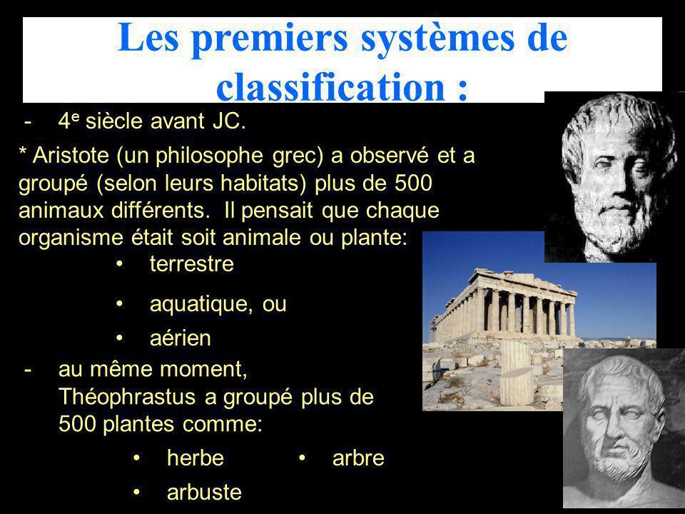 Les premiers systèmes de classification :