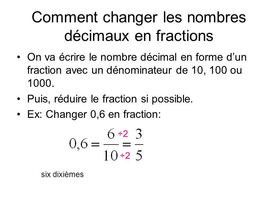 Comment changer les nombres décimaux en fractions