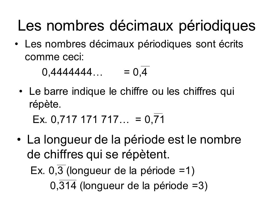 Les nombres décimaux périodiques