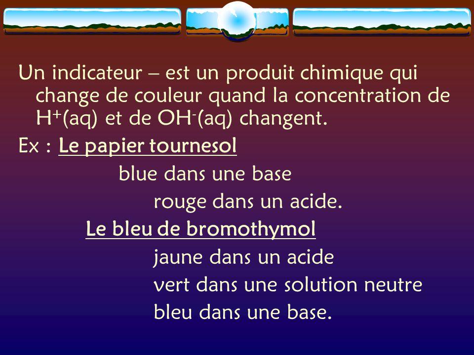 Un indicateur – est un produit chimique qui change de couleur quand la concentration de H+(aq) et de OH-(aq) changent.