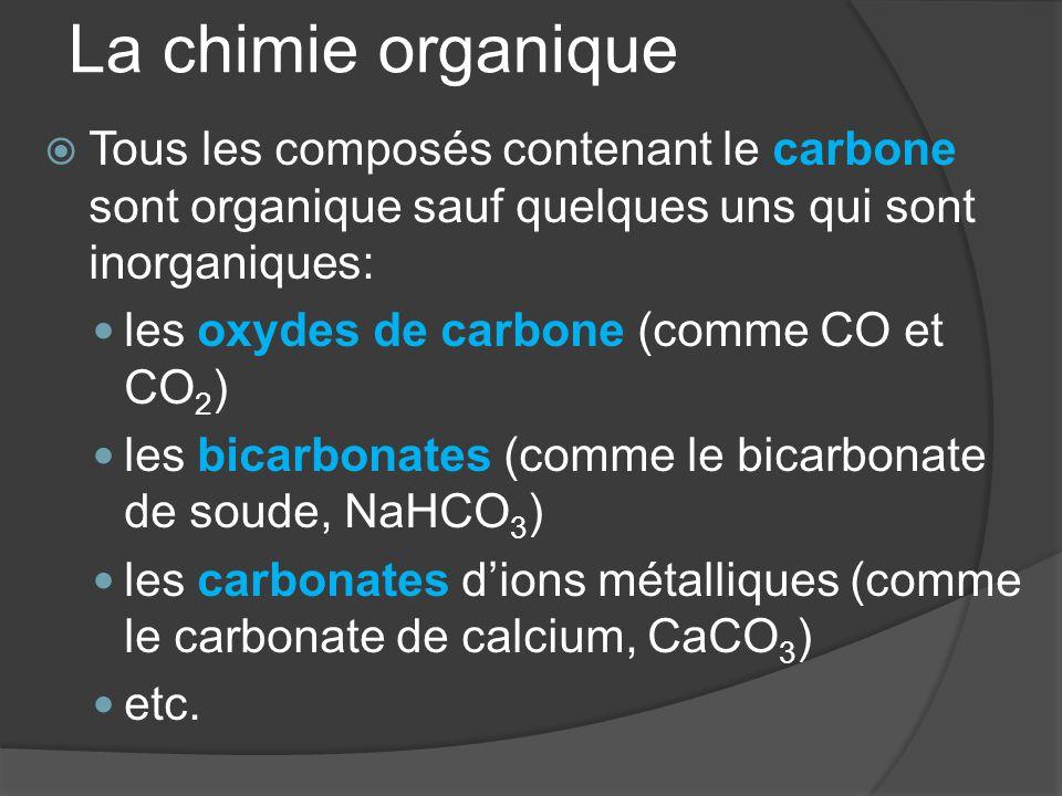 La chimie organique Tous les composés contenant le carbone sont organique sauf quelques uns qui sont inorganiques: