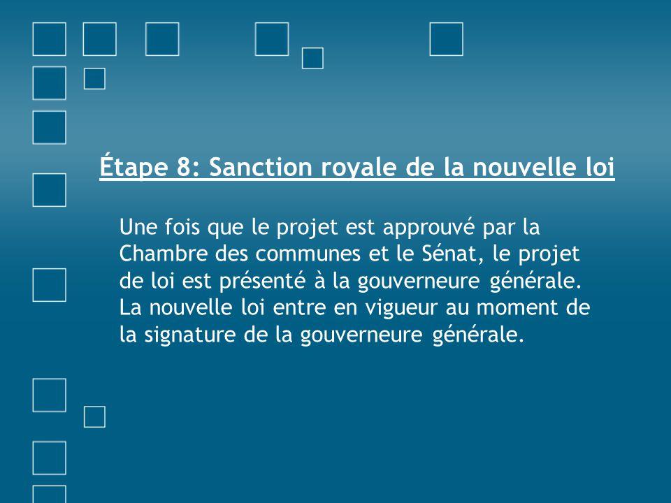 Étape 8: Sanction royale de la nouvelle loi