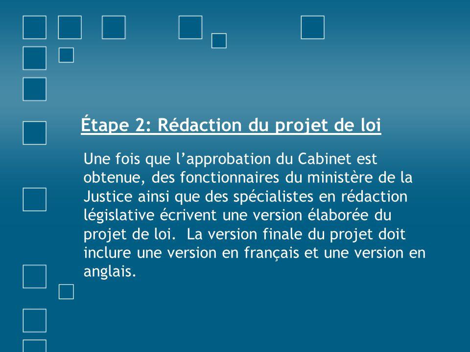 Étape 2: Rédaction du projet de loi