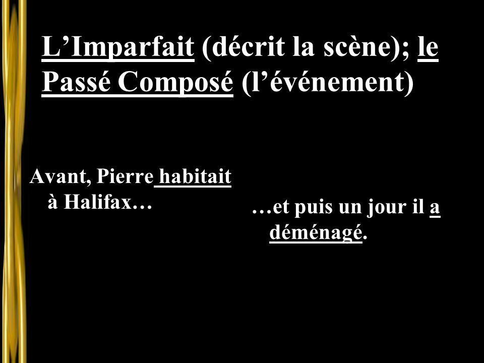 L'Imparfait (décrit la scène); le Passé Composé (l'événement)
