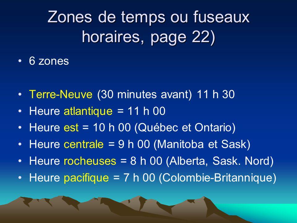Zones de temps ou fuseaux horaires, page 22)