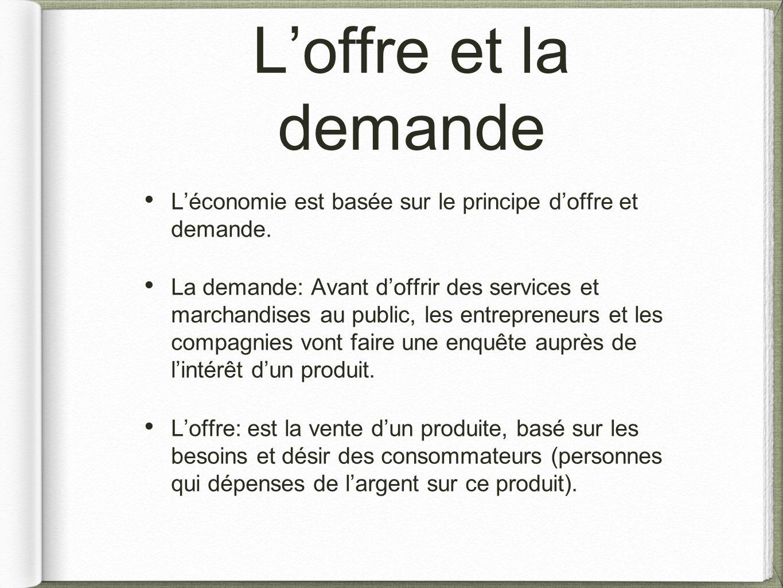 L'offre et la demande L'économie est basée sur le principe d'offre et demande.