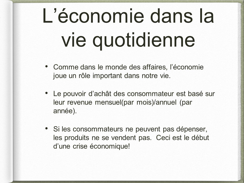 L'économie dans la vie quotidienne