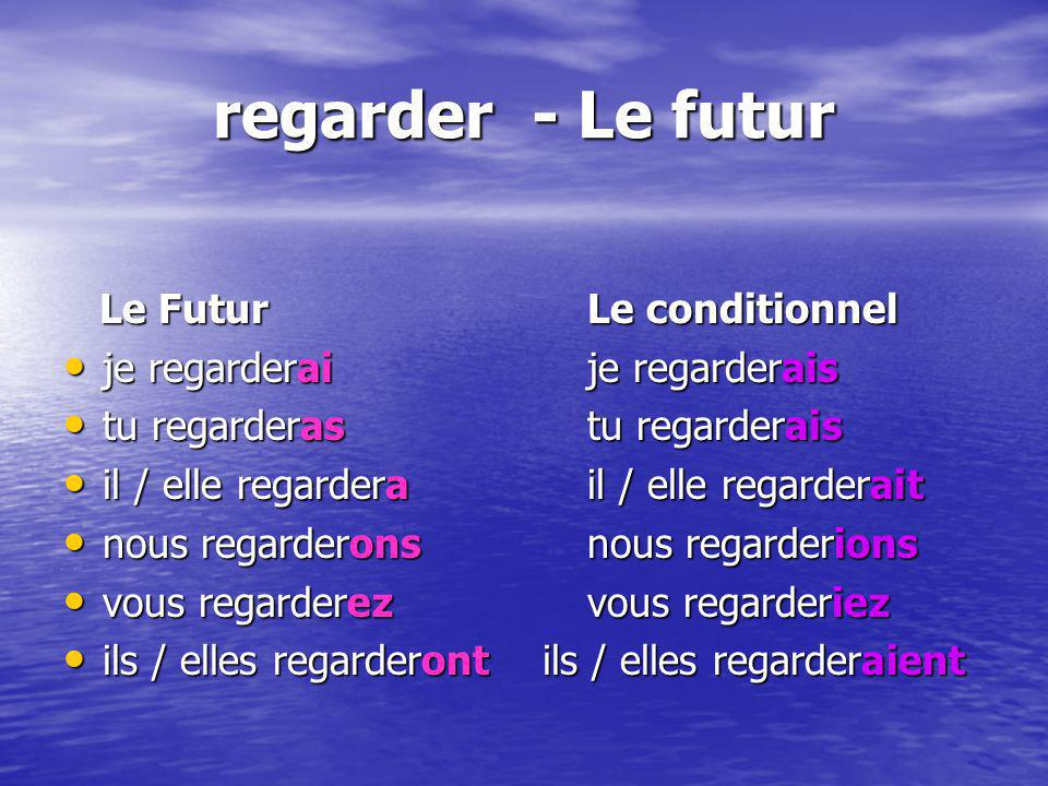 regarder - Le futur Le Futur Le conditionnel