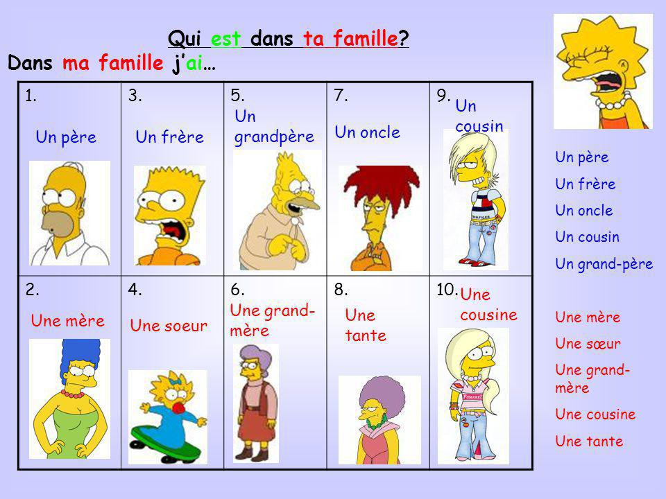 Qui est dans ta famille Dans ma famille j'ai… 1. 3. 5. 7. 9. 2. 4. 6.