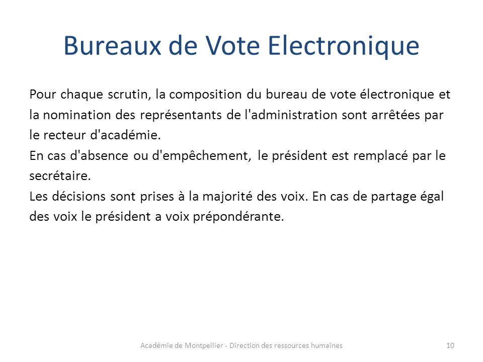 Bureaux de Vote Electronique