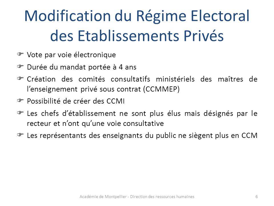 Modification du Régime Electoral des Etablissements Privés