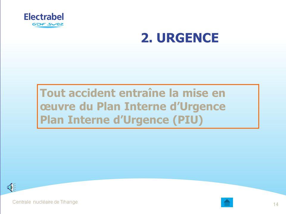 Date 2. URGENCE. Tout accident entraîne la mise en œuvre du Plan Interne d'Urgence. Plan Interne d'Urgence (PIU)