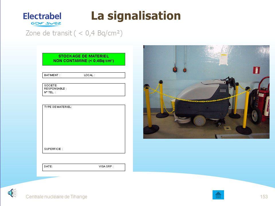 La signalisation Zone de transit ( < 0,4 Bq/cm²)