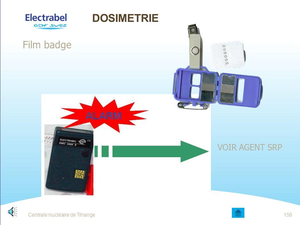 DOSIMETRIE Film badge VOIR AGENT SRP Date Entité - Sujet 156