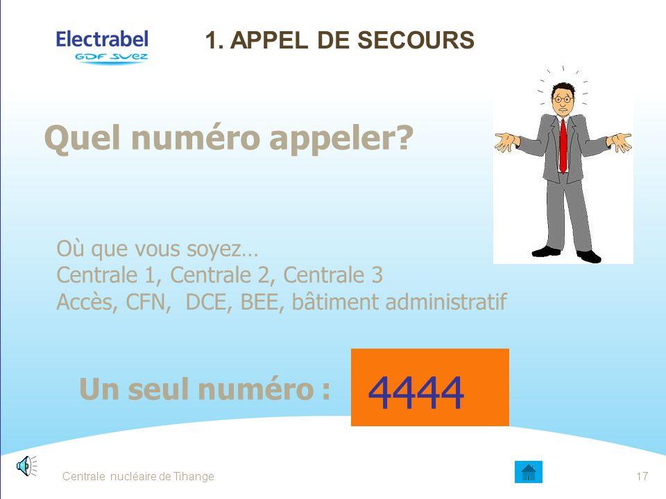 4444 Quel numéro appeler Un seul numéro : 1. Appel de secours