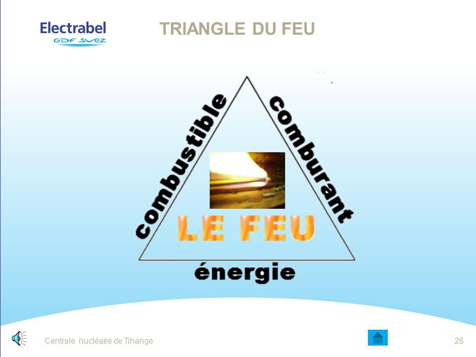 Triangle du feu La réunion de trois éléments est nécessaire pour qu'un incendie se déclenche: Une matière combustible (par exemple du bois)