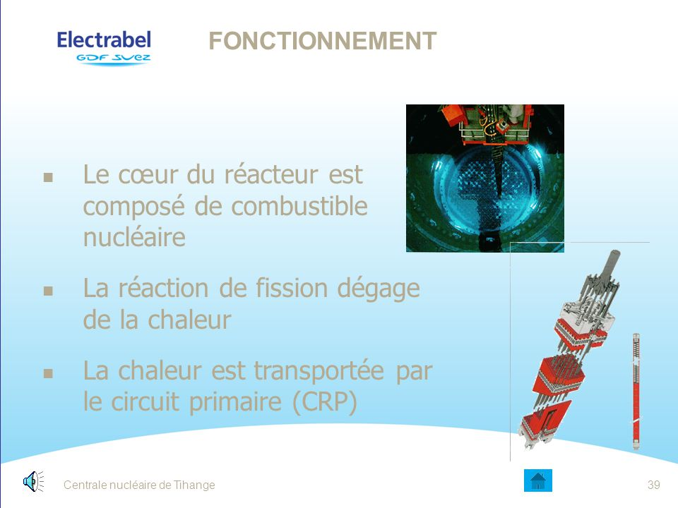 Le cœur du réacteur est composé de combustible nucléaire