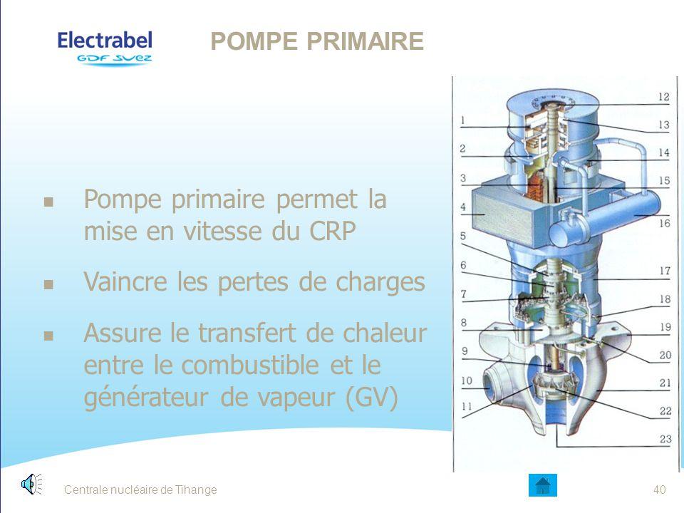 Pompe primaire permet la mise en vitesse du CRP