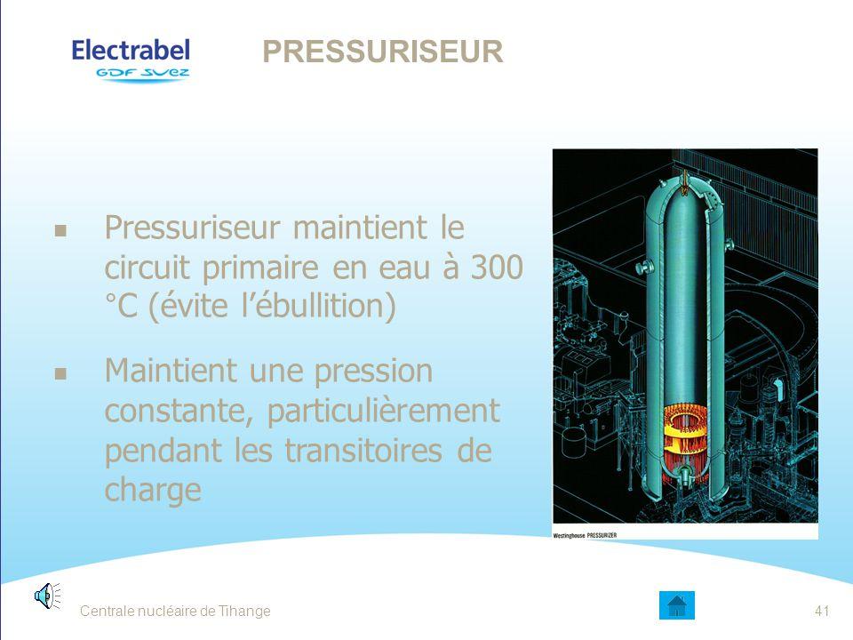 Pressuriseur Pressuriseur maintient le circuit primaire en eau à 300 °C (évite l'ébullition)