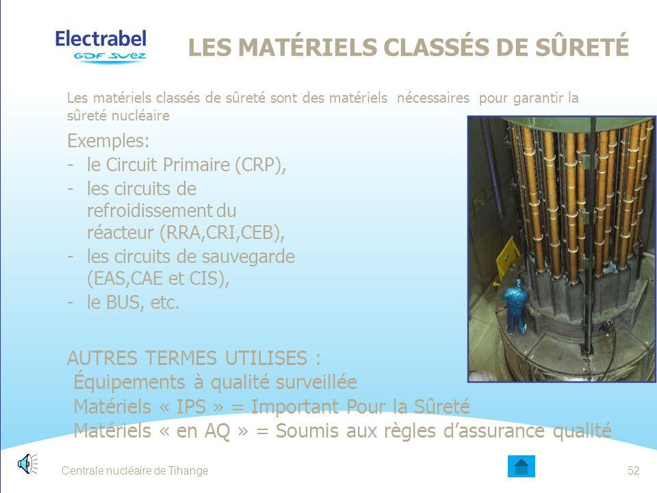 LES MATÉRIELS CLASSÉS DE SÛRETÉ