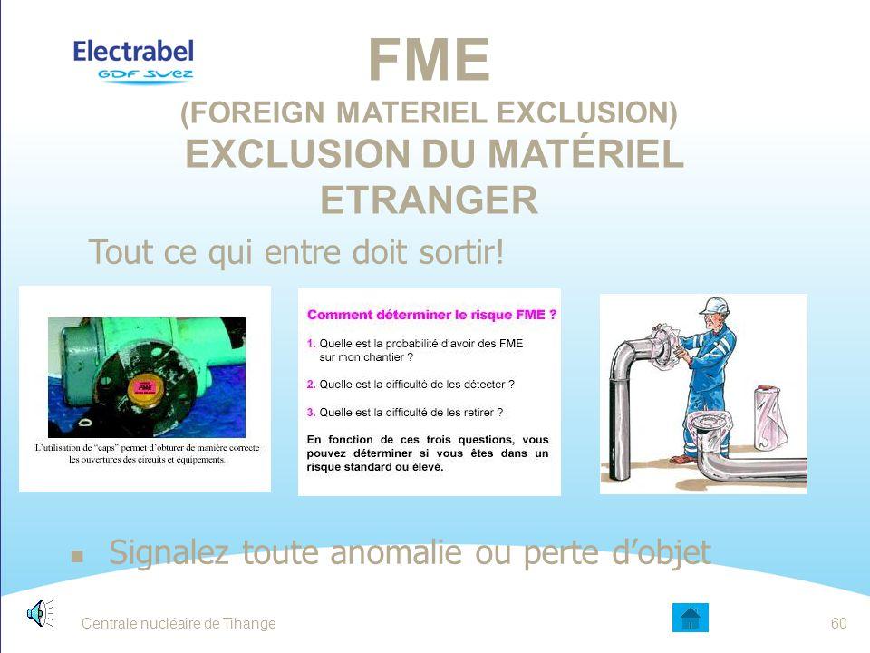 FME (Foreign Materiel Exclusion) Exclusion du Matériel Etranger