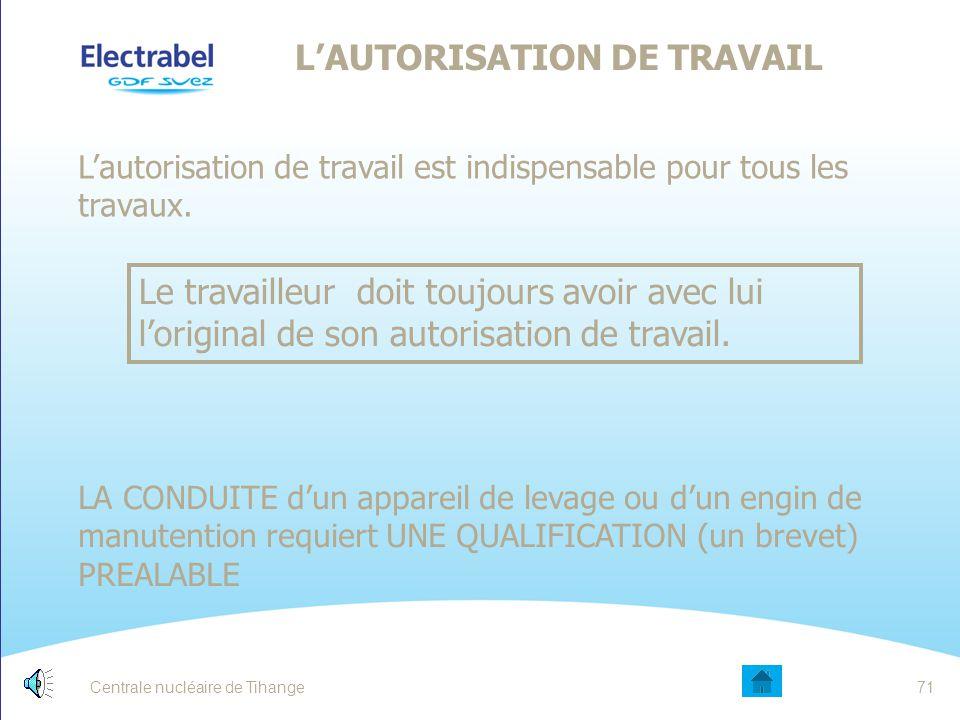 L'AUTORISATION DE TRAVAIL