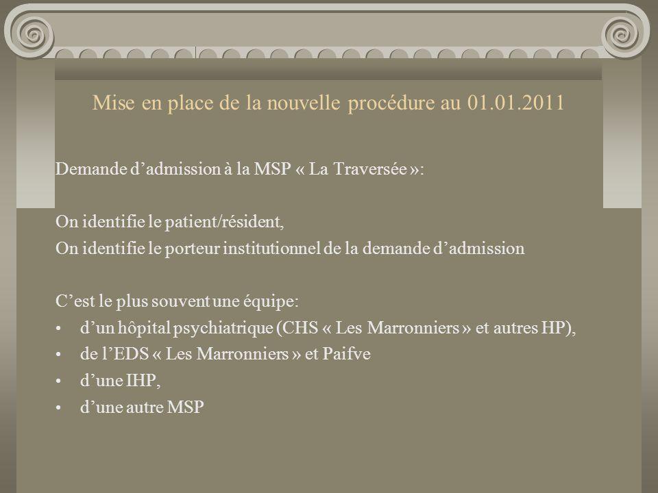Mise en place de la nouvelle procédure au 01.01.2011