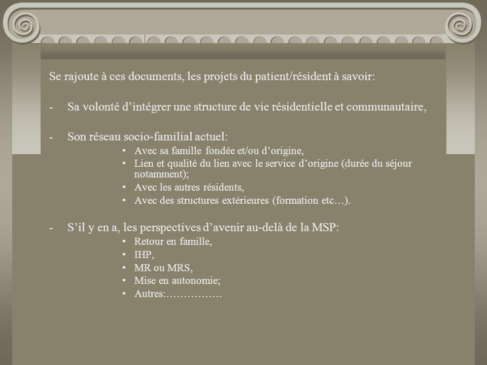 Se rajoute à ces documents, les projets du patient/résident à savoir: