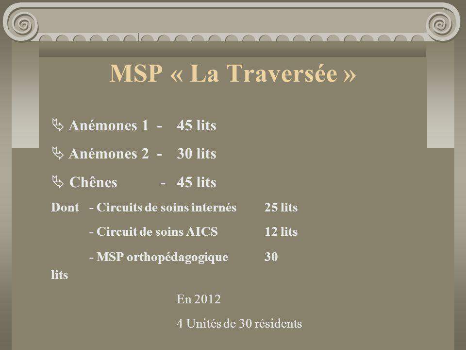 MSP « La Traversée » Anémones 1 - 45 lits Anémones 2 - 30 lits
