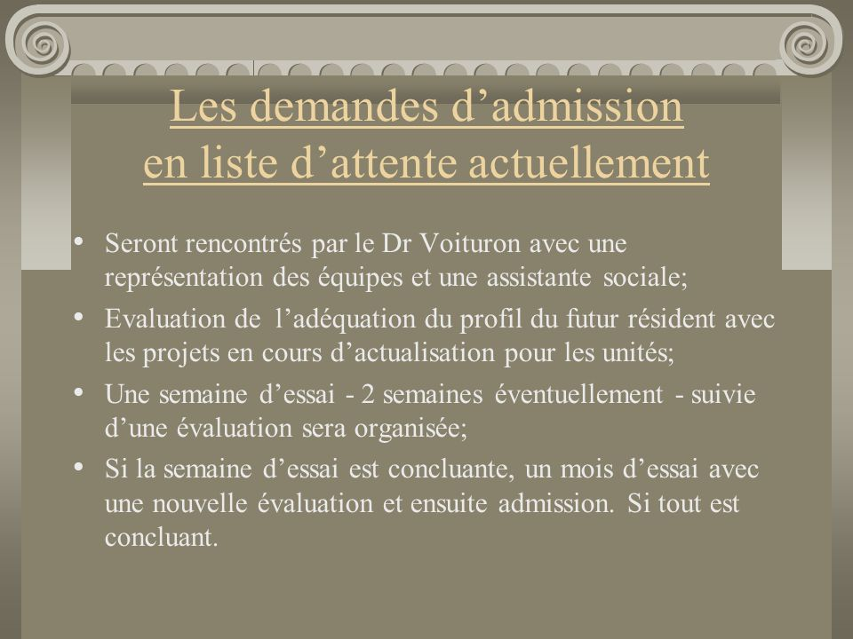 Les demandes d'admission en liste d'attente actuellement