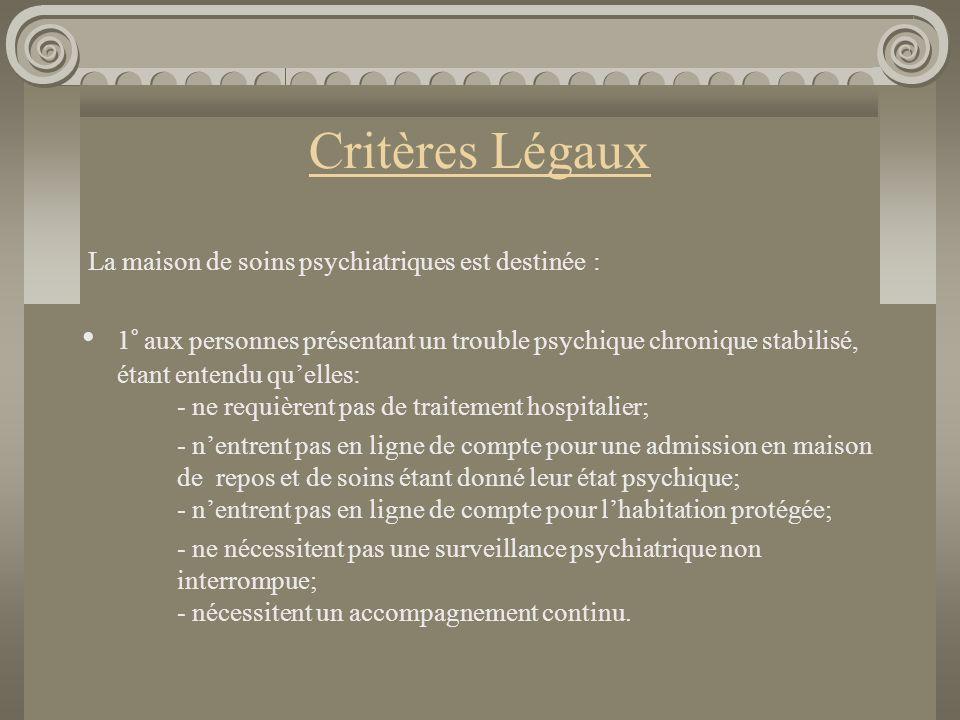 Critères Légaux La maison de soins psychiatriques est destinée :