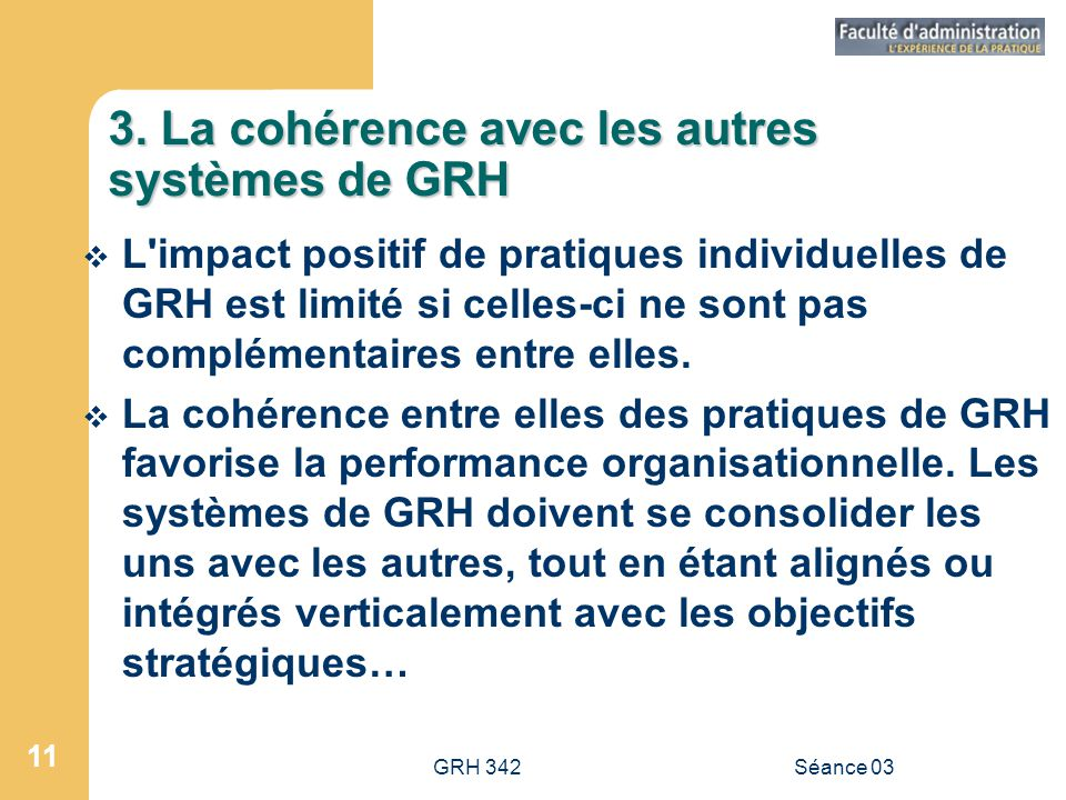 3. La cohérence avec les autres systèmes de GRH
