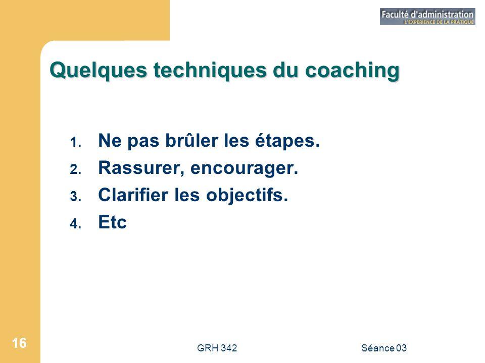Quelques techniques du coaching