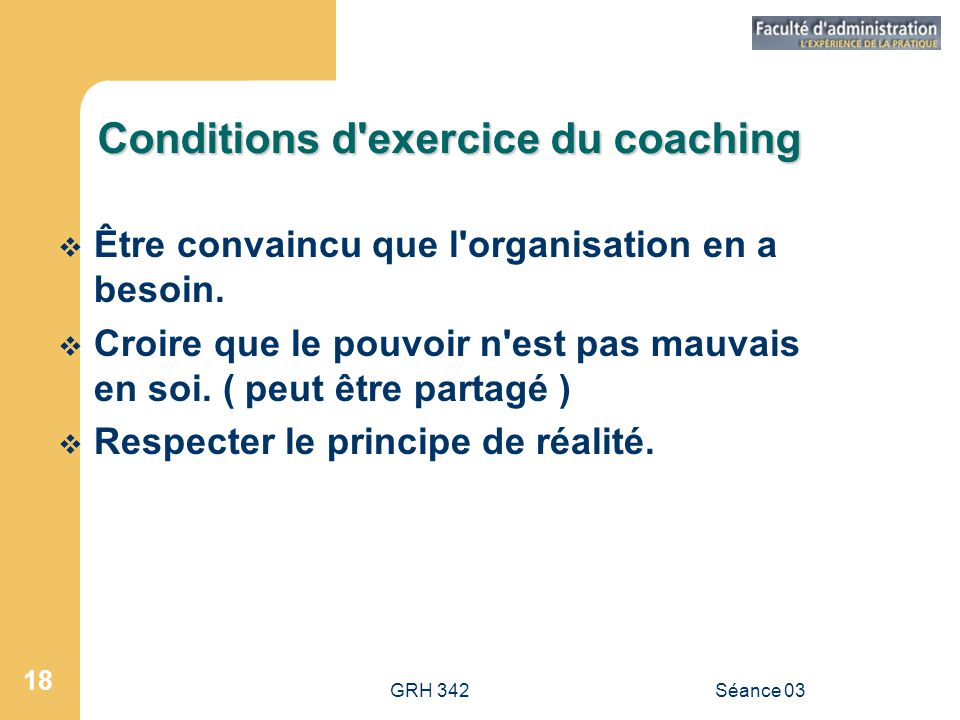 Conditions d exercice du coaching