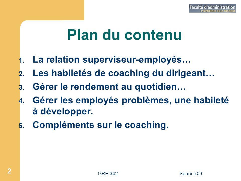 Plan du contenu La relation superviseur-employés…